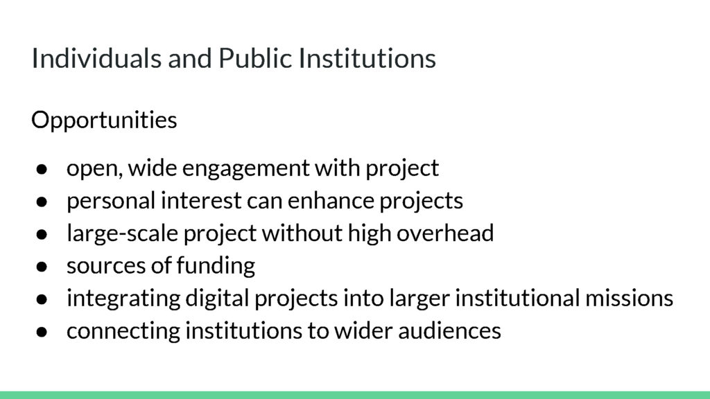 Individuals and Public Institutions Opportunities
