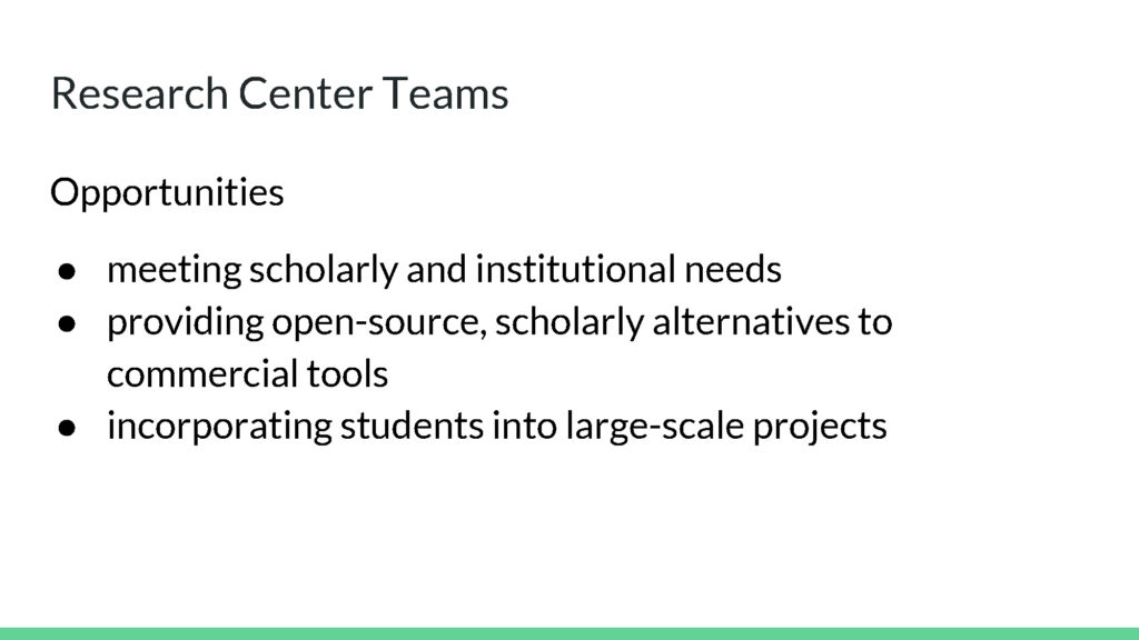Research Center Teams Opportunities