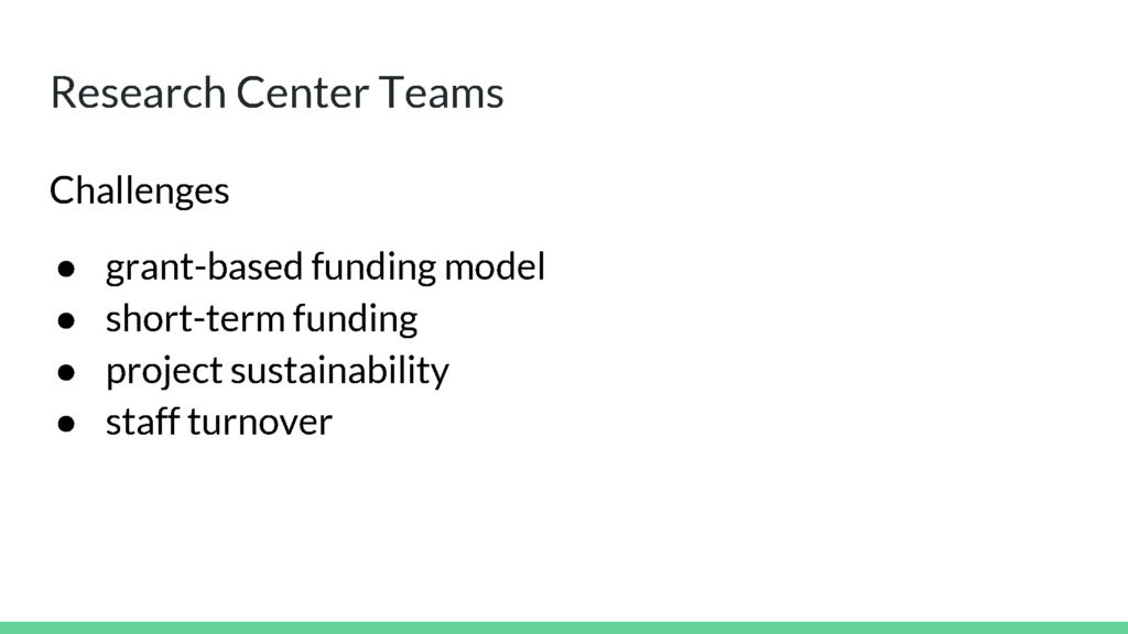 Research Center Teams Challenges
